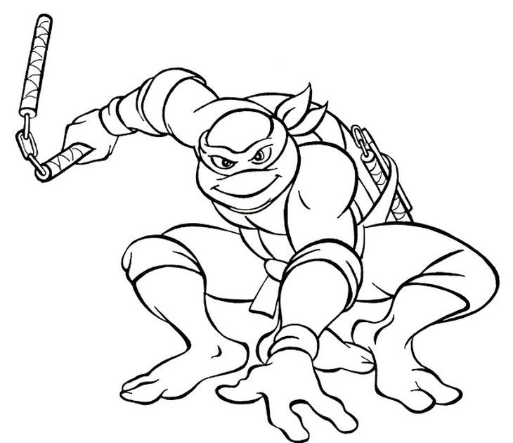 The coolest and funniest ninja turtle Michelangelo coloring page ...