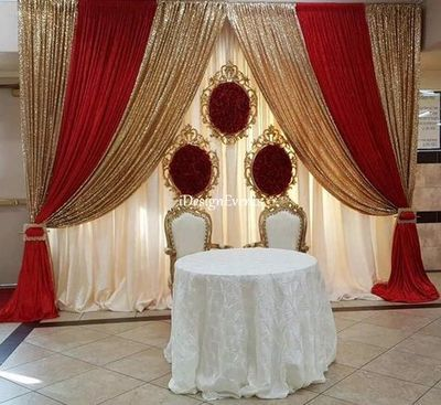 Red And Gold Ivory Red Rose Flower Wall Frame Backdrop