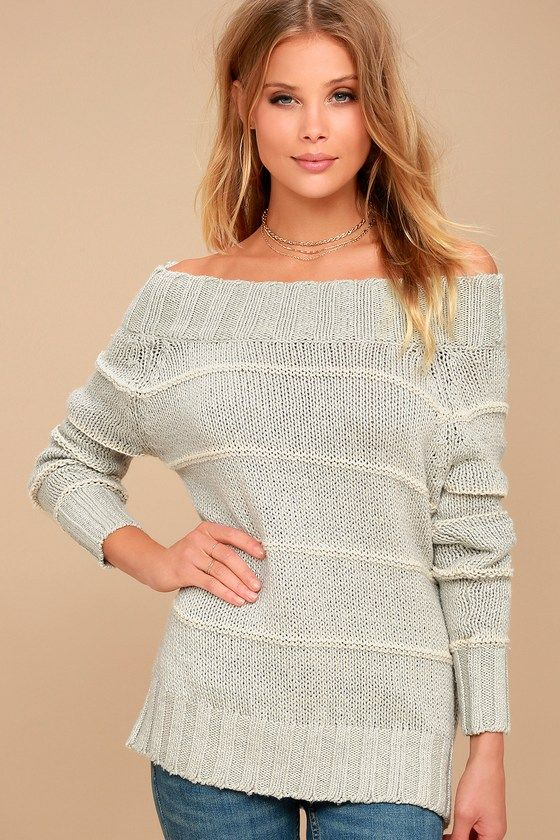 3008f937adf4f Snuggle Down Grey Striped Off-the-Shoulder Sweater | 2017 What to ...