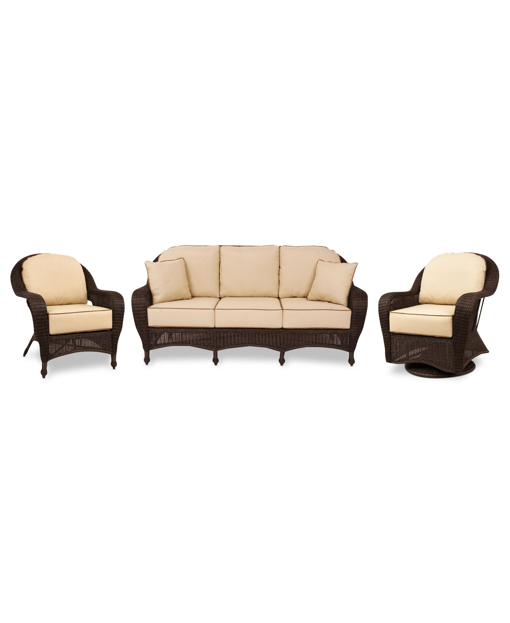 Monterey Outdoor Wicker 3-Pc. Seating Set with Sunbrella® Cushions ...