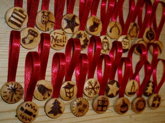 Christmas Decorations  burned Wood | Wooden Christmas Tree Decorations