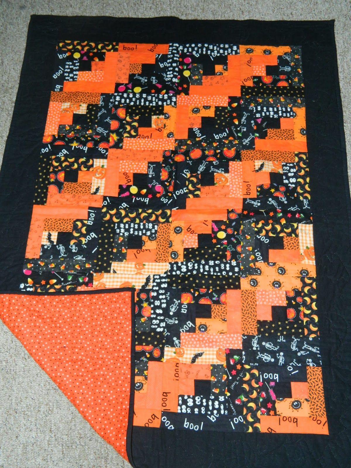 Halloween log cabin quilt by Nancy Trower