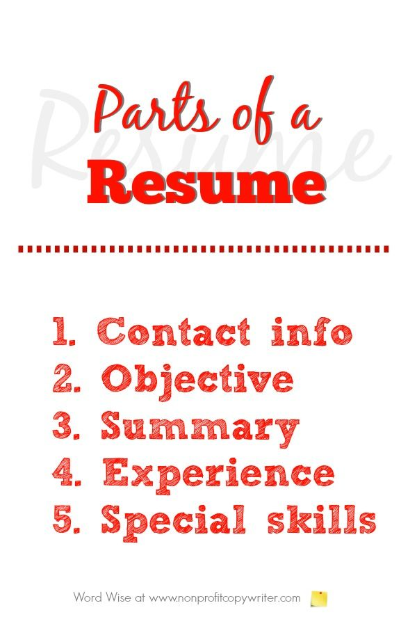 5 parts of a resume and writing tips for each of them Self - parts of a resume