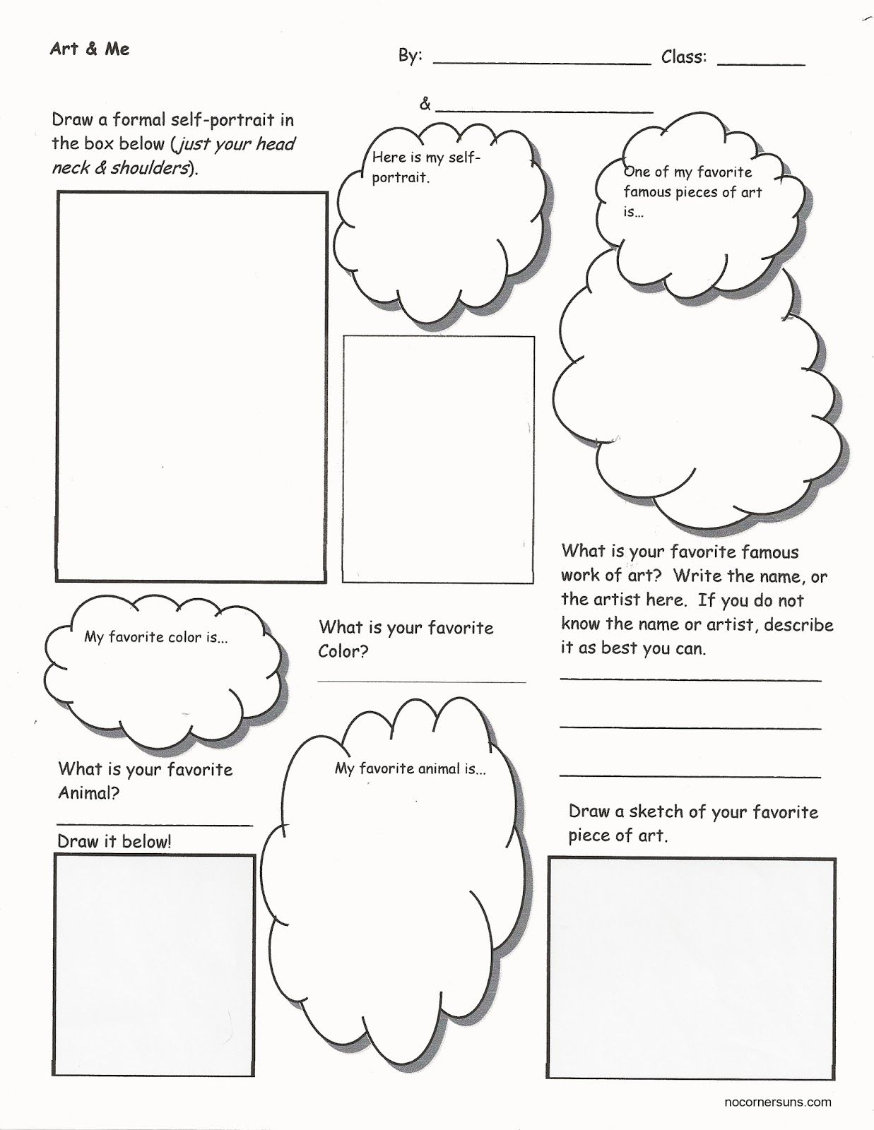 No Corner Suns Art Amp Me Get To Know Your Students While They Get To Know You Worksheet