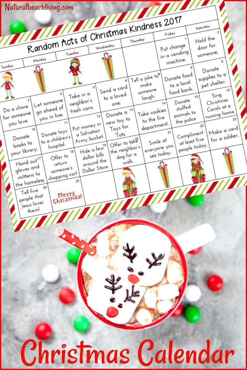 Free Random Acts Of Kindness Advent Calendar 25 Ideas