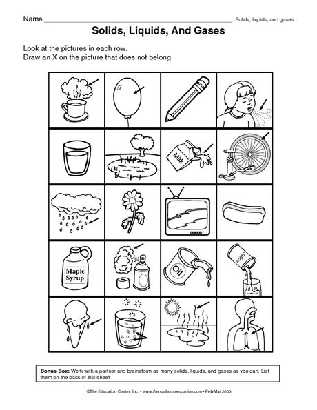 Matter Liquid Solid Gas Sort Science Worksheets