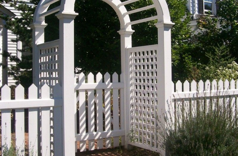 picket fence gate with arbor. 4 Foot 1 X Picket Fence And Gate With Arbor Stained White Installed By A