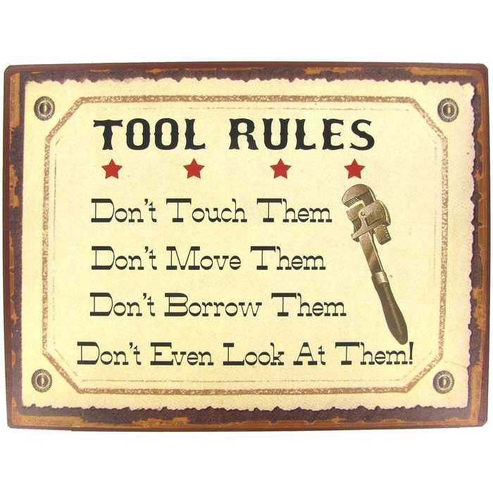 Garage Decor Signs Entrancing Accent Garage Décor With This Tool Rules Tin Signmade To Hang On Review