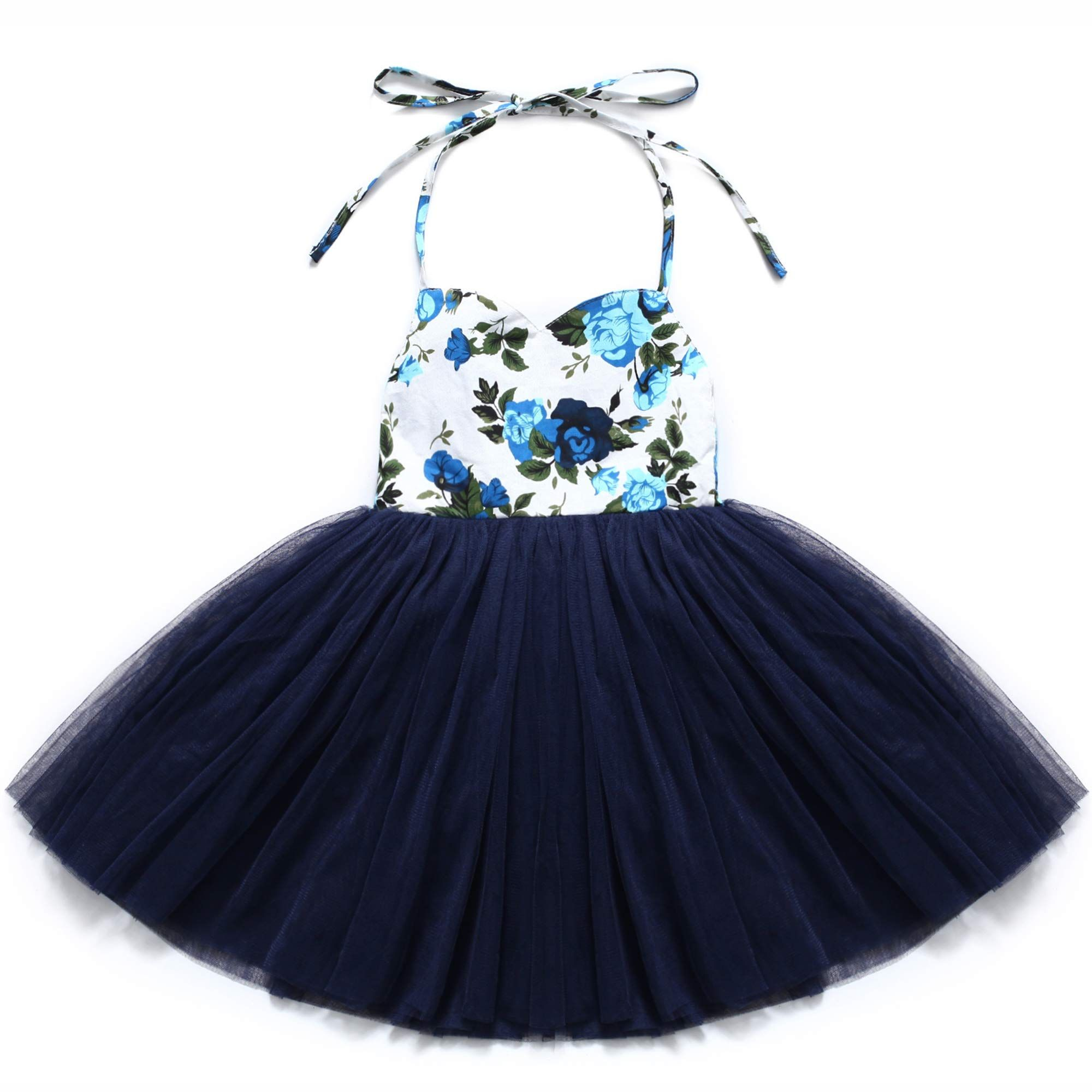 2179e05262 Flofallzique Christening Baby Girls Dress Navy Blue Tutu Birthday Party  Toddler Girls Clothes 1 Navy Blue   Click picture to evaluate even more  details.