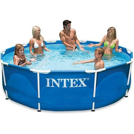 Intex 10 X 30 Metal Frame Above Ground Swimming Pool With Filter Pump Walmart Com Intex Swimming Pool Intex Cheap Above Ground Pool