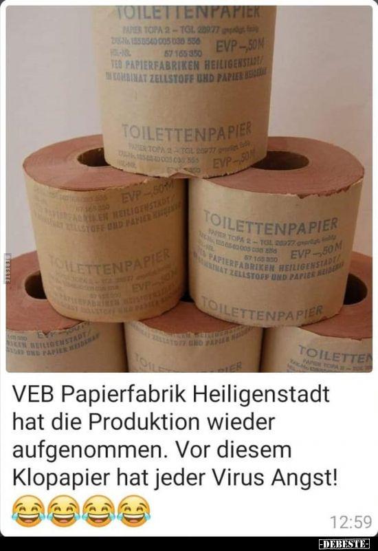 VEB Papierfabrik Heiligenstadt hat die Produktion wieder..