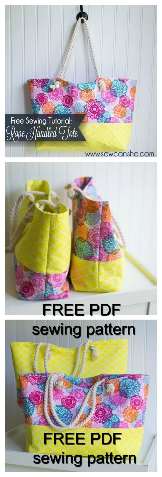 FREE downloadable pdf bag sewing pattern. These rope handled totes ...