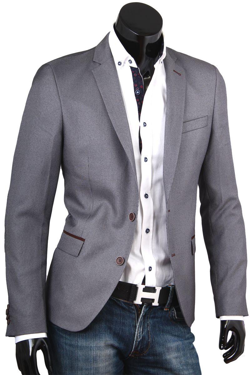 3c36795e0f09 Купить Приталенный мужской пиджак пепельного цвета фото недорого в Москве