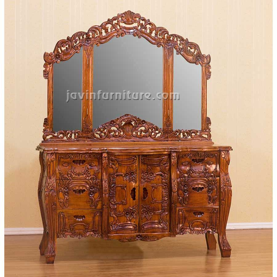 Antique dressing table with mirror - Antique Dressing Table With Triple Mirror 343 65