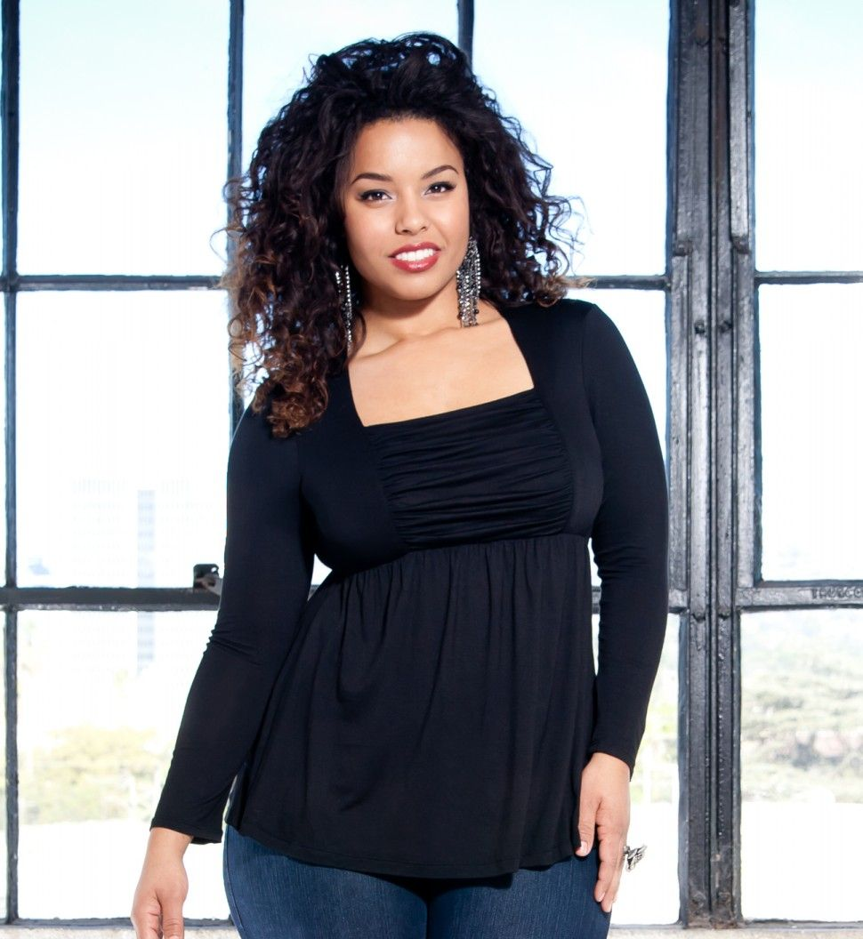 Plus Size Tops - Rylan Ruched Top by Kiyonna (Rayon)