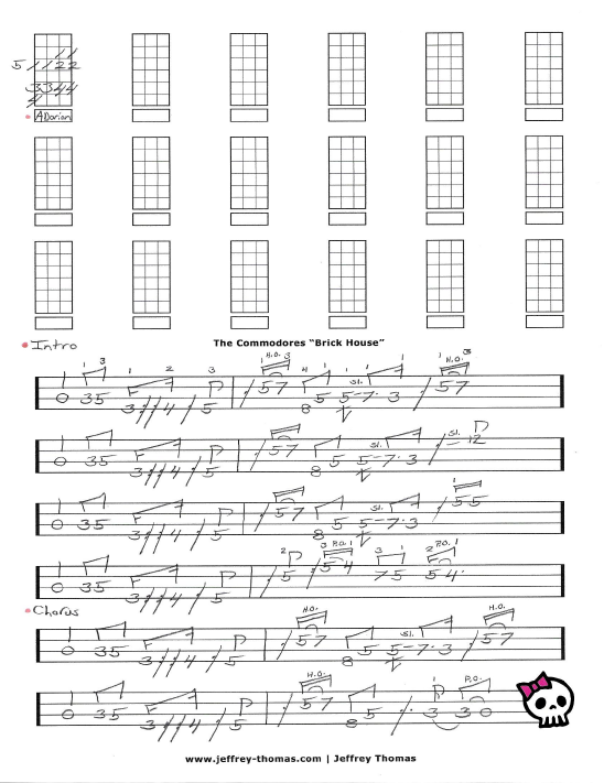The Commodores Brick House Free Bass Tab By Jeffrey Thomas Commodores Brick House Bass Tabs Commodores