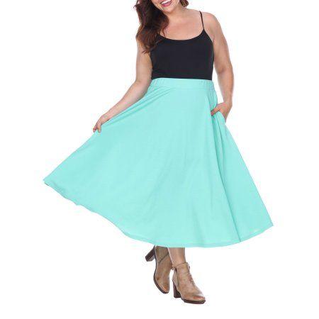 4b17ff0f559 Plus Size White Mark Women s Plus  Tasmin  Flare Midi Skirts