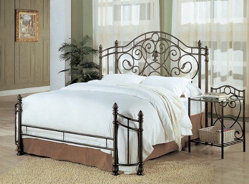 Queen Size Antique Gold Finish Metal Bed Headboard