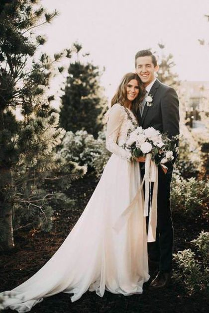 Long Sleeve Rustic Wedding Dresses Lace Appliqued Ivory Beach Wedding Dress US$ 218.00 BUKPTK7PAK8