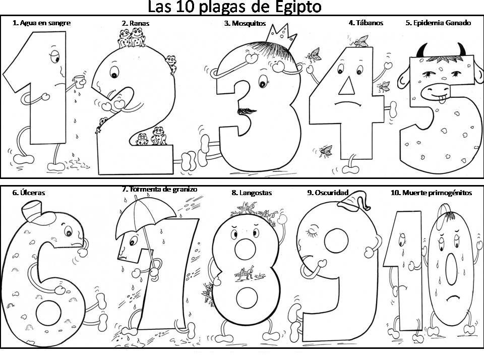 Las 10 plagas de Egipto para colorear (With images