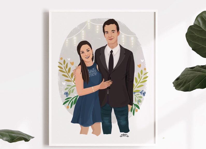 Custom Couple Illustration, Custom Portrait, Personalized Portrait, Couple Portrait, Custom Valentines Day Gift, Custom Drawing