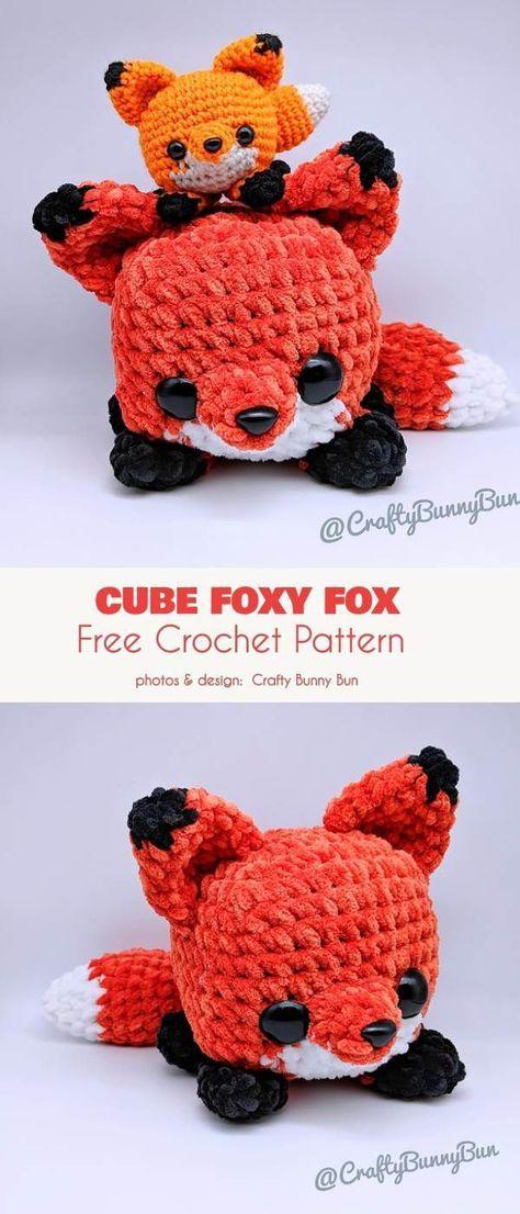 Easy Cube Foxy Fox Free Crochet Pattern #cutecrochet