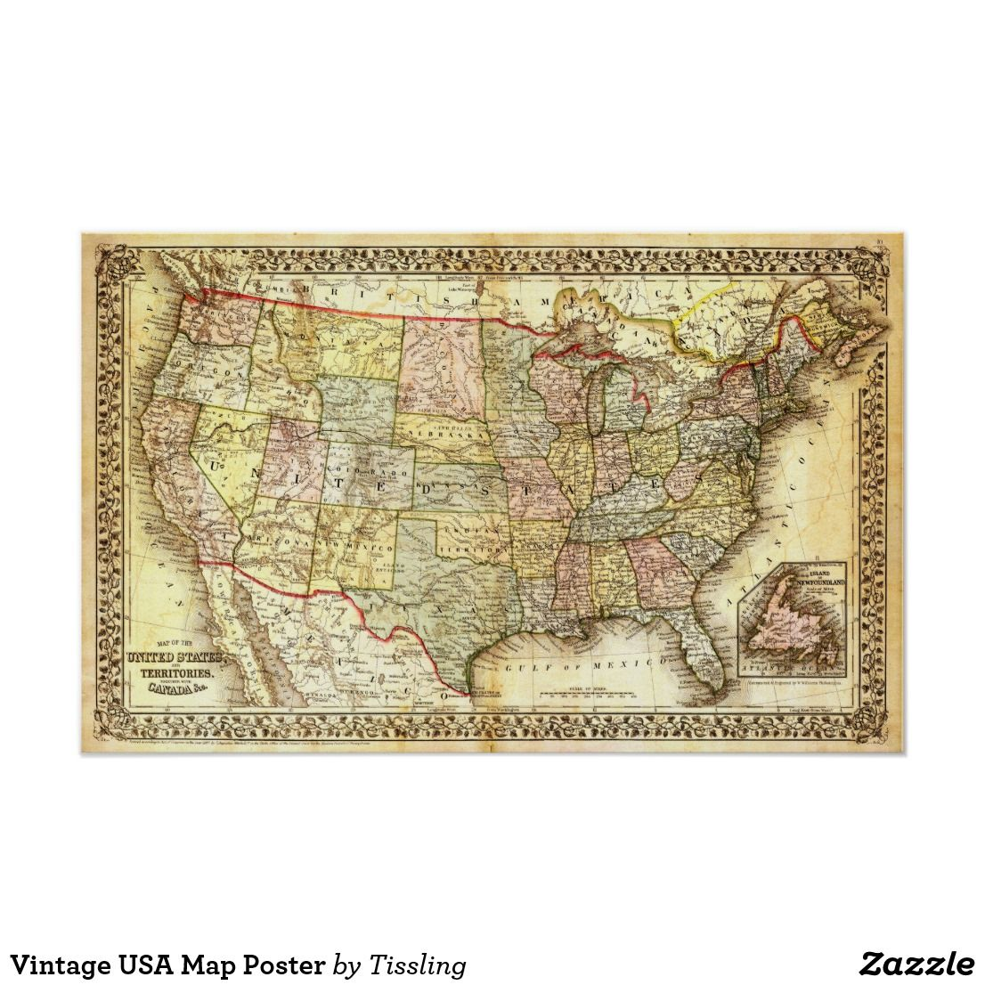 Vintage USA Map Poster | Zazzle.com in 2019 | Map Art ...
