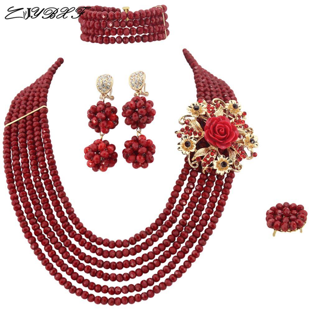 Fashion Trendy Nigerian Wedding African Beads Jewelry Set Crystal Women Necklace Custume Jewelry    L1041