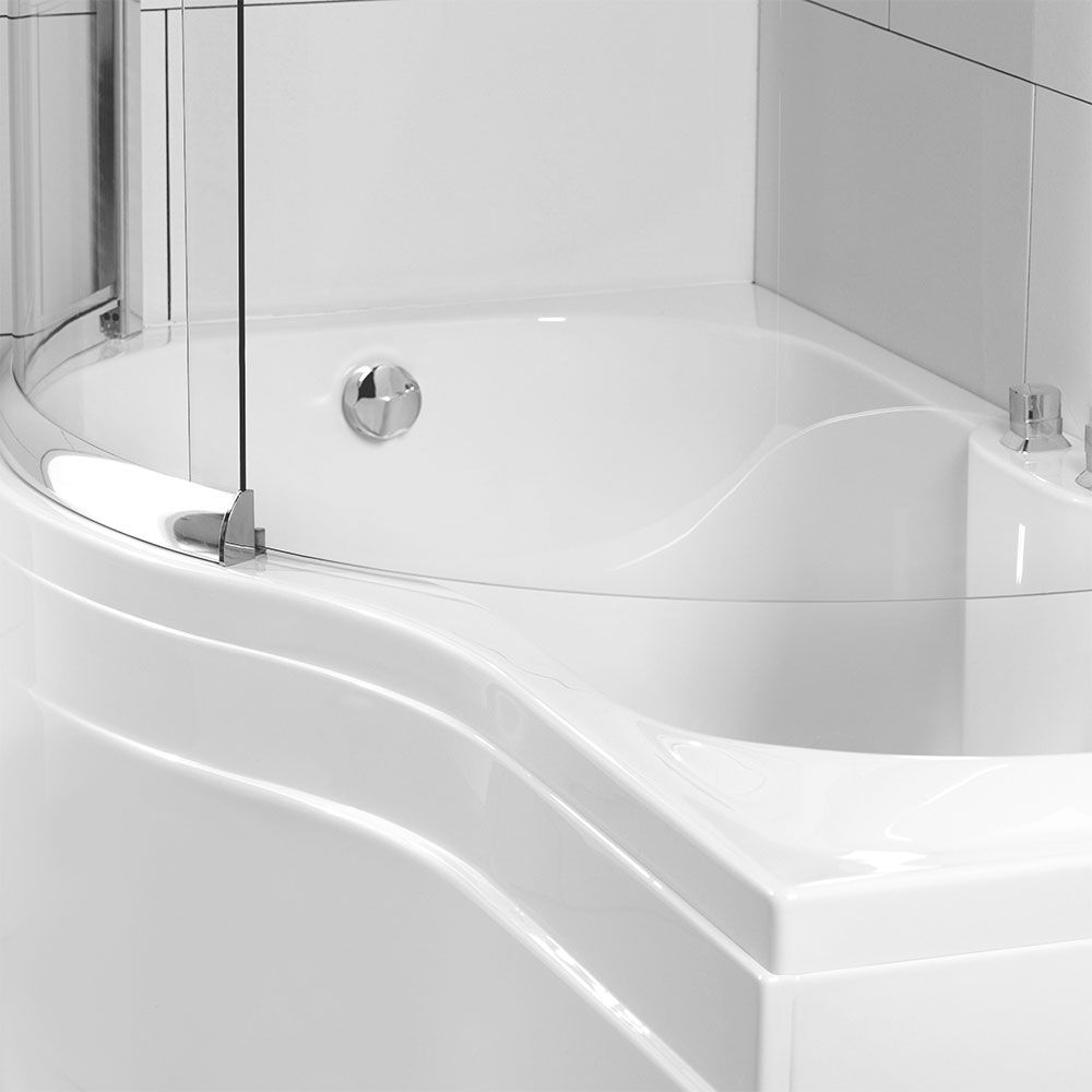 Elegant White Corner Bath Shower Screen Bathroom Decor