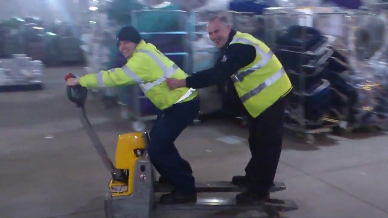 Forklift Fails: Riding a Pallet Jack     Or how to look silly and be