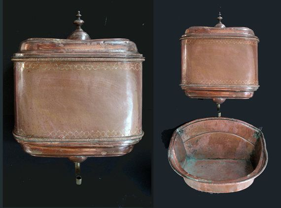 Antique Large French Copper Lavabo Water Fountain French Copper Fountain And Bassin 1800 Copper Lavabo Antique Coppe Brass Tap Absinthe Fountain Antiques
