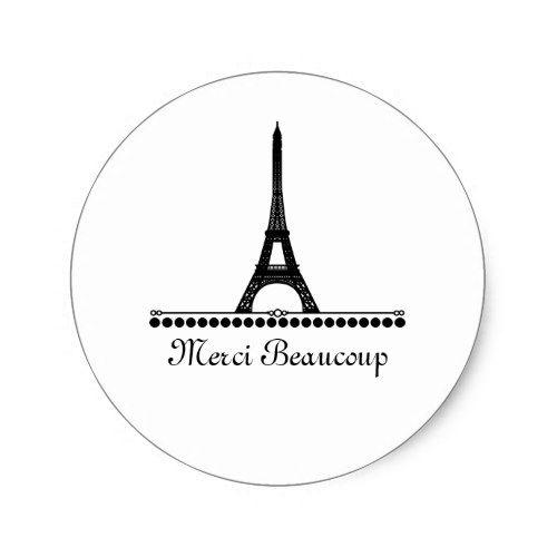 Chic White Wedding Theme: Parisian Chic Thank You Stickers, Black Classic Round