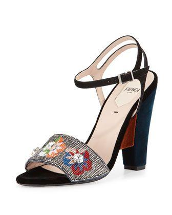 Fantasia+Floral-Beaded+Velvet+Sandal,+Gray/Multi+by+Fendi+at+Neiman+Marcus.