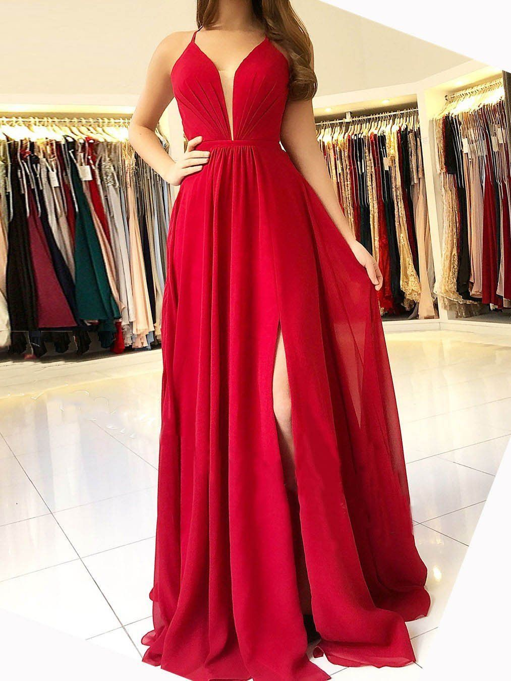 的 long chiffon cheap red bridesmaid dress vneck backless prom