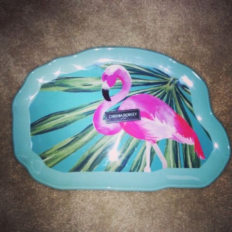 Cynthia Rowley Home Plastic Flamingo Tray. Got this for $5 for my patio table!