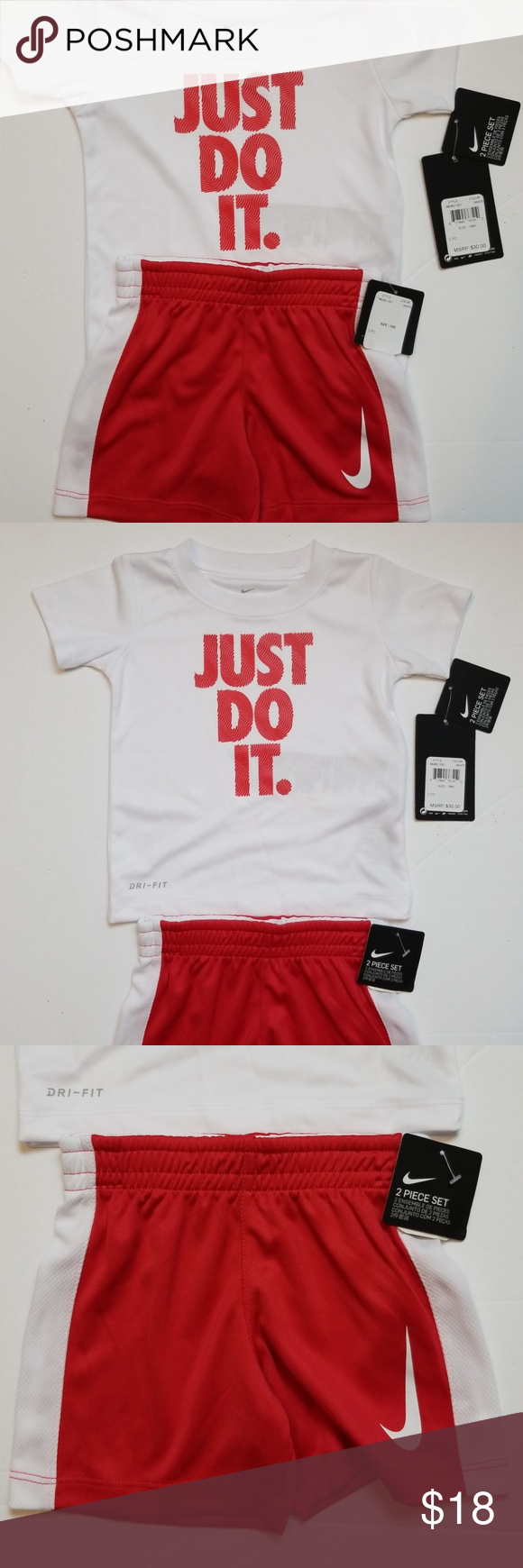 cozy fresh 179b5 80773 NIKE Dri Fit Logo Baby Boy 2 piece Short Set 18 mo NIKE DRI FIT