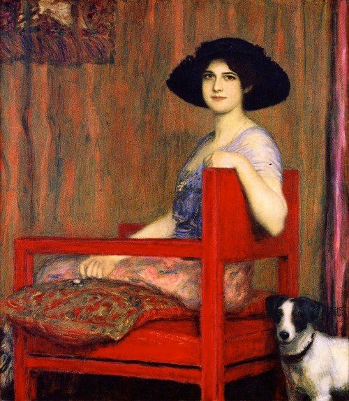 Franz Stuck (German 1863–1928), [Symbolism, Art Nouveau] Mary in a Red Chair, 1916.