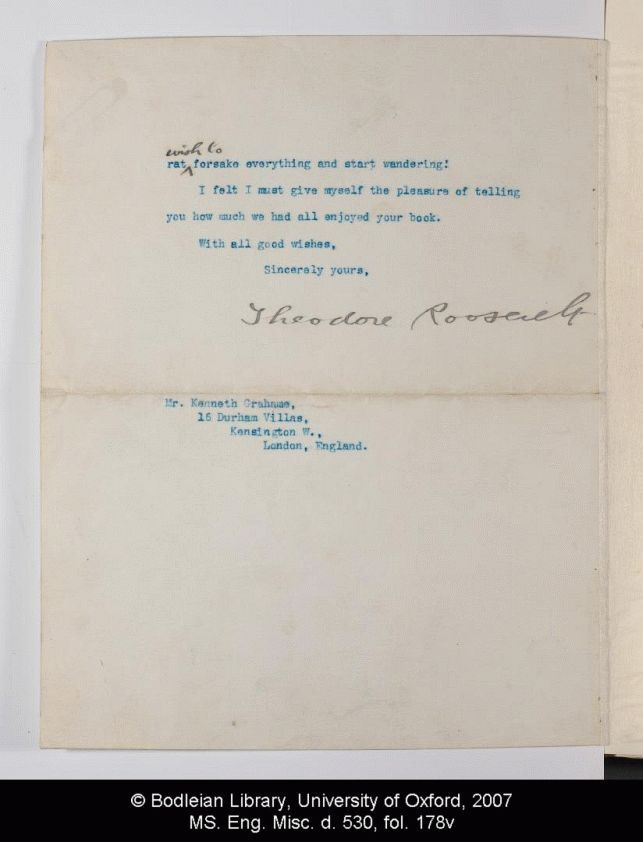 Letter of admiration from President Theodore Roosevelt to Mr and