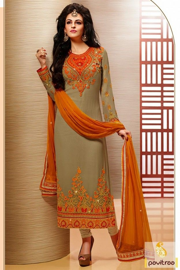 Grey with orange color party wear Salwar suit with designs, fully embroidery work on neck, full sleeves and bottom part with patta border and stone work on dupatta.