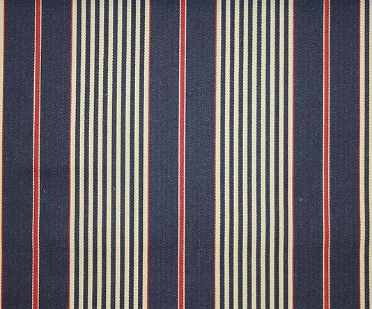 Rimini Ticking Stripe French ticking in navy blue and cream with red for bed.