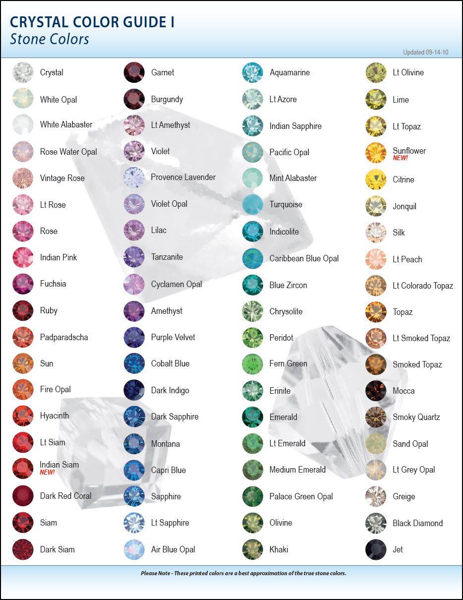 Latest swarovski color charts 2010 crystals and stone crystal color guide stone colors 20101 healing stonescolor chartsmood ring nvjuhfo Images