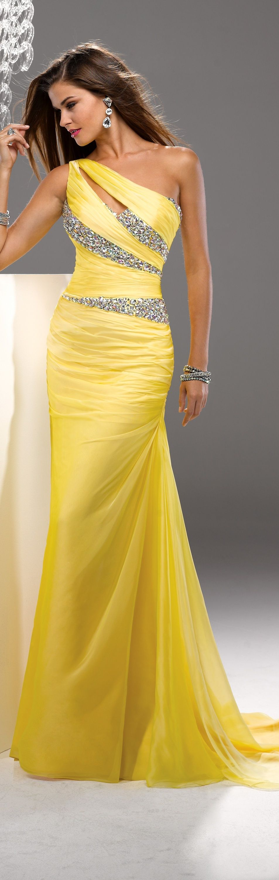 Yellow beaded long bridesmaid prom formal evening cocktail party