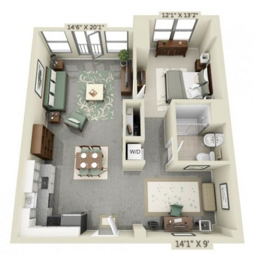 Image result for studio apartment floor plans 500 sqft for Studio apartment design 3d