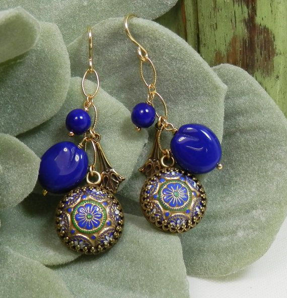 Vintage Lapis Blue Glass Mandalas Beads and Baubles by KimFisher