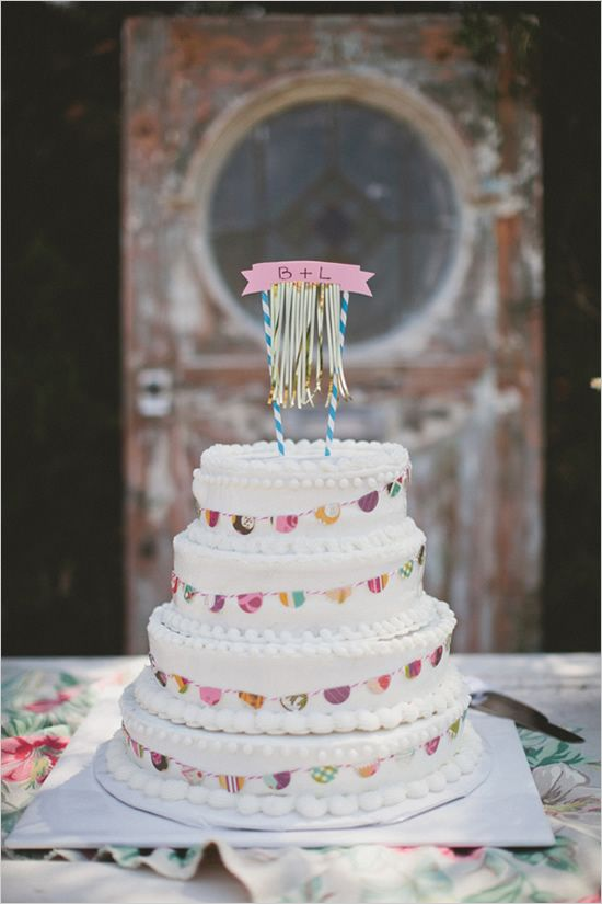 Classic Cake with Bunting and Colorful Garland