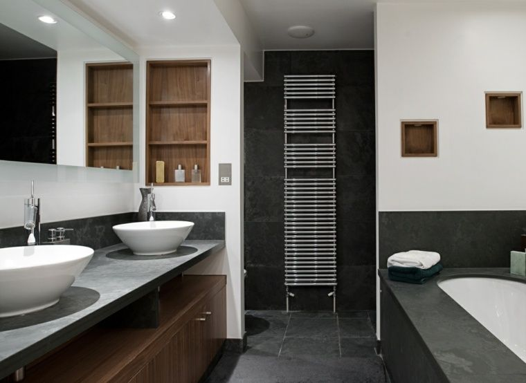 Salle de bain ardoise  naturelle et chic Interiors - Stratifie Mural Salle De Bain