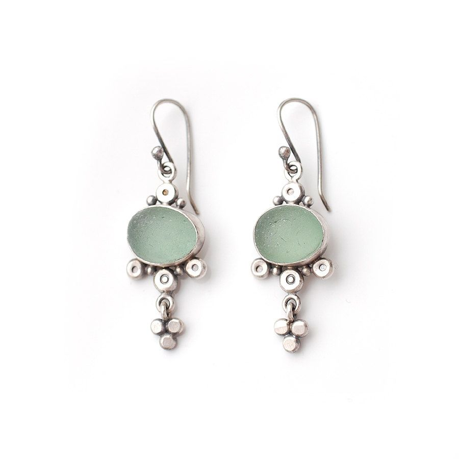 Pale Green Sea Glass Drops Sea Glass Silver by ShardsbyTania