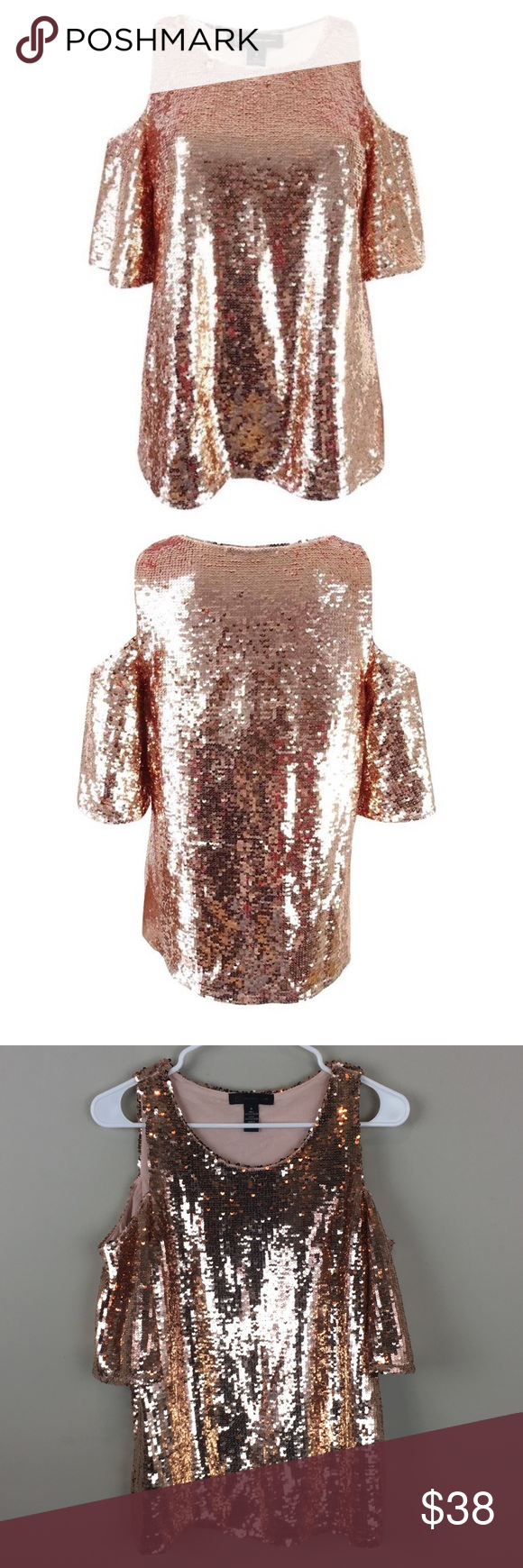 7847af197424eb INC Rose Gold Sequin Cold Shoulder Top - B5 Super cute top that s very  sparkly to