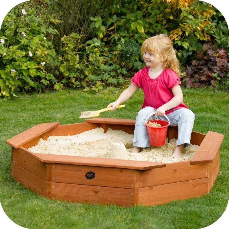 Plum Kids Octagonal Wooden Sandpit w/ Seats & Cover   Sand ...
