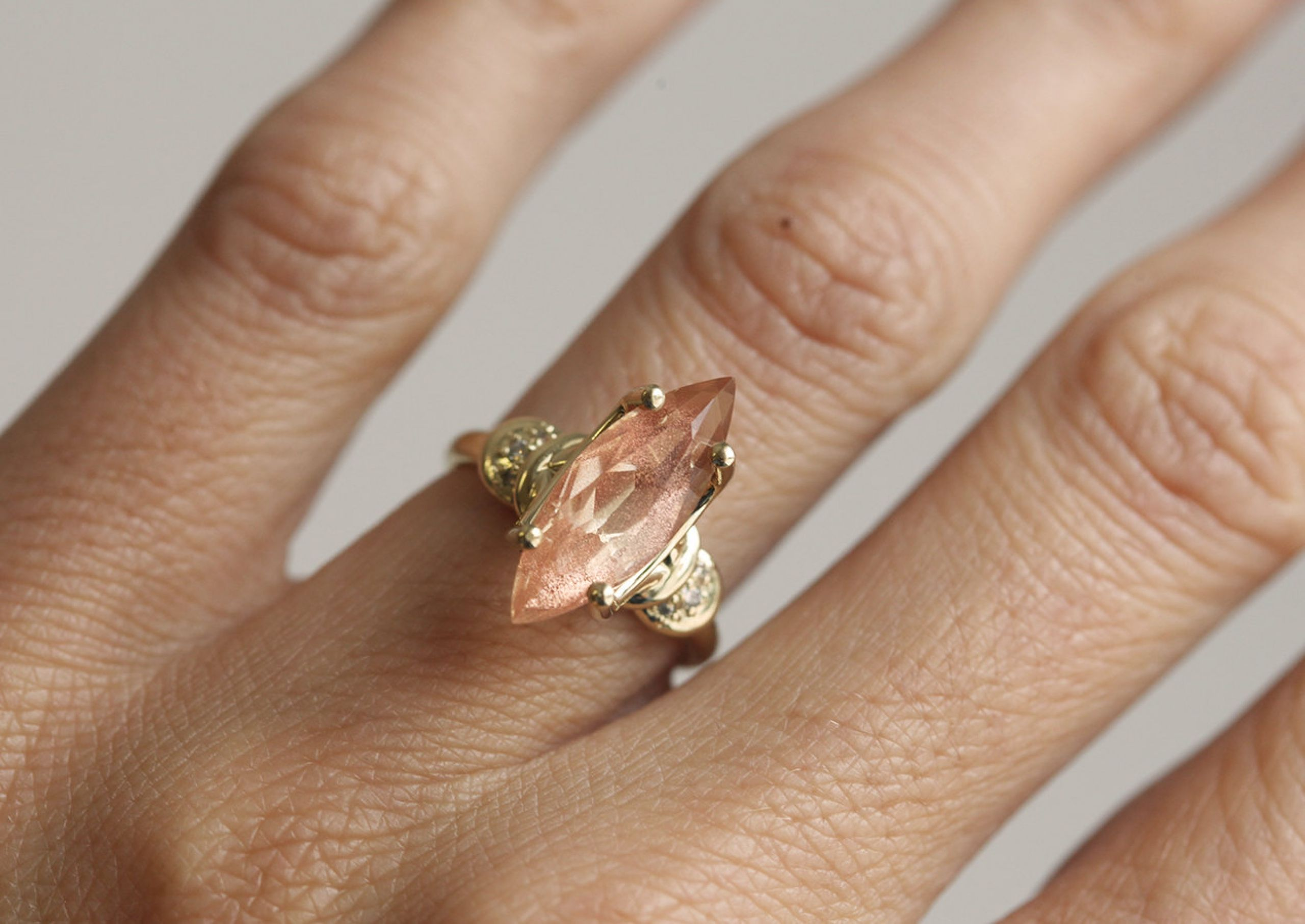 band rose stone wedding featured sunstone matching designs madelynn halo bands engagement oregon sun gold rings blog cassin and